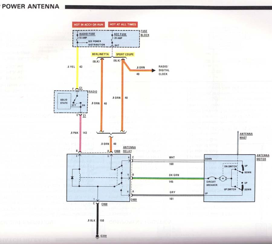 Corvette power antenna wiring diagram